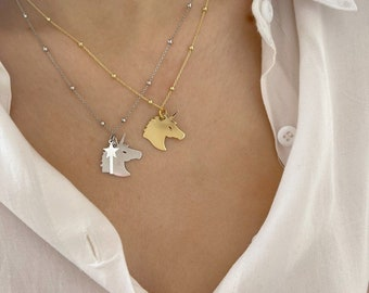 Necklace entirely in 925 silver with unicorn pendant