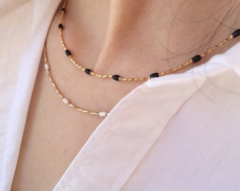 Brass choker necklaces with enamel nuggets