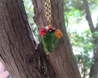 Sicilian Jewelry - Long gold plated necklace with hand-painted sicilian ceramic pendant Indian pendant