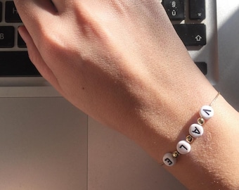 Silver bracelet with Golden initials and silver balls