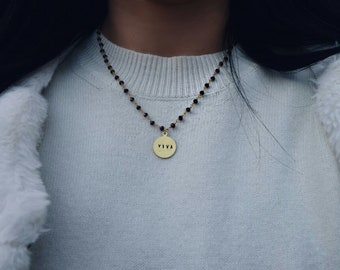 Necklaces with brass rosary chain and hand-engraved medals