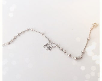 Silver bracelet with beads and pendant lovers
