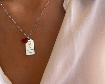 Il cuore sa - Necklace entirely in 925 silver with engraved plate and enameled heart