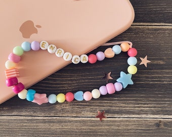 Personalized phone cord with beads and letters