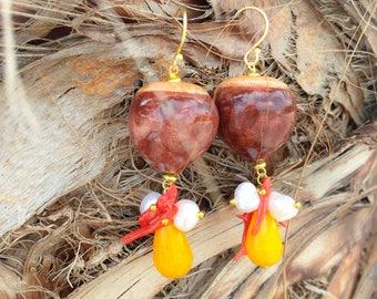 Sicilian Jewelry - Handmade Caltagirone Ceramic Chestnut Pendant Earrings