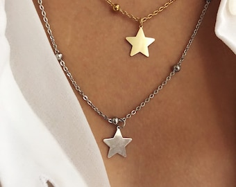 Necklace with steel chain with beads and star pendant in 925 silver