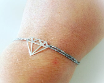 Make a Wish Bracelet with small diamond pendant in silver and gold and pink bathroom cord silver