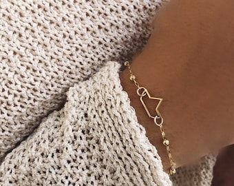 Bracelet in 925 silver bathed in 18k gold with a boat pendant