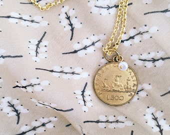 Necklace with rosary chain and Italian brass coin pendant
