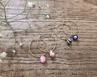 Brass hoop earrings with Greek eye pendant