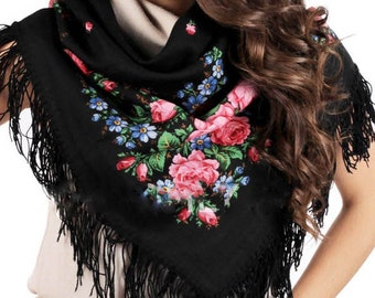 Russian black floral shawl size 35'', Pavlovo Posad babushka wool kerchief, Pink roses folk boho shawl Mom birthday gift Piano fringed shawl