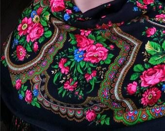 "Russian Pavlovo Posad Babushka Wool Shawl Wrap 50"", Black Pink Roses Folk Floral Shawl, Large Bohemian Fringe Boho Shawl, Mom Birthday Gifts"