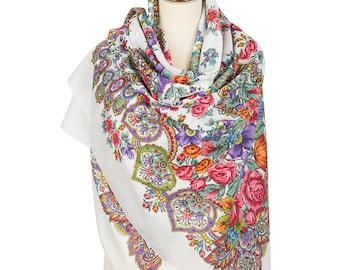 "Russian summer COTTON white shawl size 57"" Pavlovo Posad floral wrap scarf Oversized lightweight gauze scarf Bohemian red roses piano shawl"