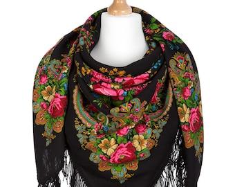 Pavlovo Posad babushka folk shawl size 50'' Russian wool wrap scarf Black red roses floral shawl Mom birthday gifts Boho fringed piano shawl