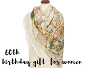 60th birthday gifts for women, Russian Pavlovo Posad white wool floral shawl
