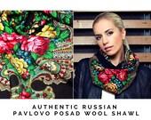 Russian Pavlovo Posad black vintage babushka shawl kerchief for women size 35 quot , Square wool wrap scarf with fringe, Red roses folk shawl