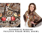 60th birthday gifts for women, Russian Pavlovo Posad brown folk shawl size 50 39 39 , Square wool wrap scarf with fringe, Large piano shawl