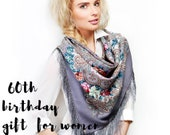 60th birthday gifts for women, Russian Pavlovo Posad gray pink floral piano shawl size 50 quot