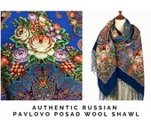 Russian Pavlovo Posad blue roses bird shawl for women size 58 quot , Square wool wrap shawl with fringe, Floral pashmina, Oversized piano shawl