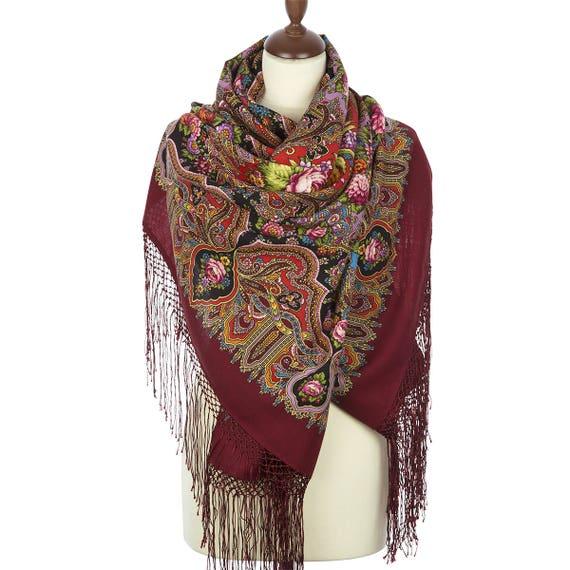 54f410aa8376 Russian Pavlovo Posad burgundy evening shawl for woman size | Etsy