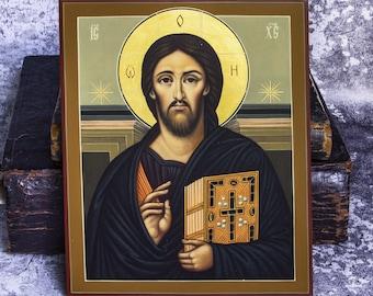 Jesus Christ icon Orthodox, Jesus Christ Pantocrator Sinai icon, Hand painted wooden gild icon