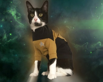 Sphynx Cat Clothes | TNG Operations Uniform for Sphynx cat