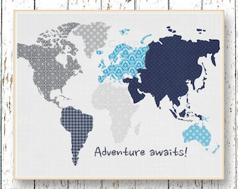 Adventure Awaits Family Room playroom print - Kids wall art World map Blue navy gray and blue art bedroom art for children