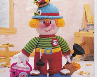Toy Knitting Booklet - Jean Greenhowe's Knitted Tradesmen Clowns - The Red Nose Gang Part 4