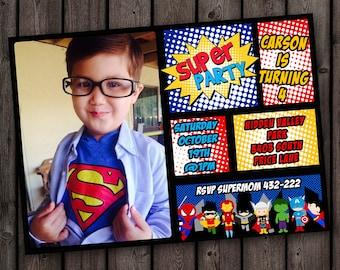 Superhero Invitation Fast Customize Custom Picture Birthday Customized Wording Party Invite