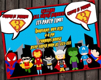 Superhero Birthday Invitation Double Child Quick Ship Customized Wording Included Party