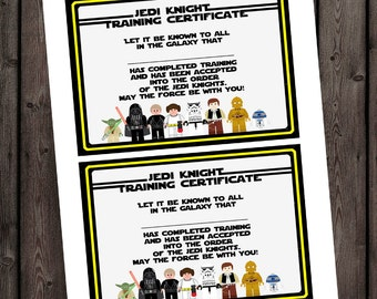 starwars jedi knight certificate jedi training camp certificate instant download at purchase star wars party supplies star wars bday