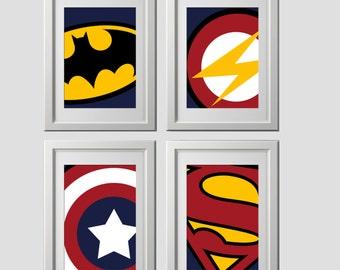 Superhero Wall Art Prints, Super Hero Wall Art Prints, High Quality Prints  Shipped To Your Door, Set Of 4, Batman Bedroom, Superhero Bedroom