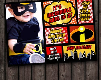 Incredibles Invitation Picture And Wording Customized Digital Printable Or Printed Shipped Superhero Birthday Party Super Hero