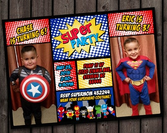 Superhero Invitation Custom Picture Birthday Customized Wording Double Party Invites