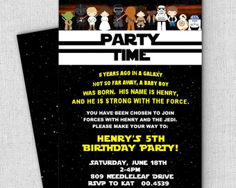 Star Wars Invitation The Force Awakens Birthday Party New Characters