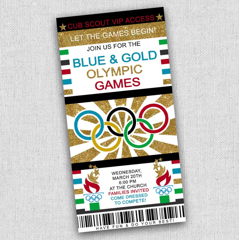 Cubscout Olympic Invitation Olympics Party Invitation Blue Etsy
