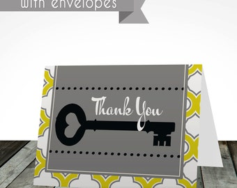 PRINTED thank you cards, digital or printed, shipped with envelopes, house warming, thank you cards, thank you card, cards