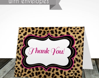 Cheetah thank you cards, PRINTED or digital, shipped with envelopes, thank you card, birthday card, birthday invitations, Cheetah print