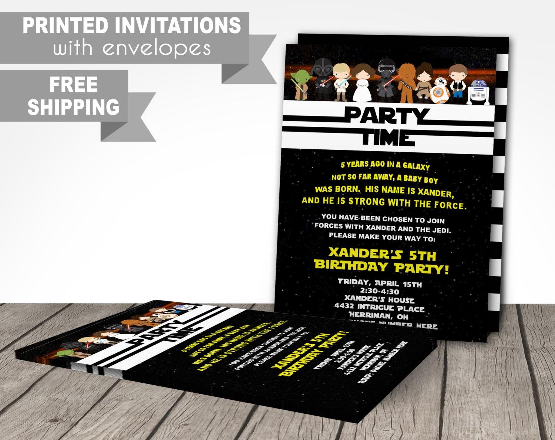 Star wars PRINTED birthday invitations starwars invitations | Etsy