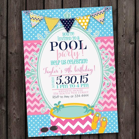 Pool Party Birthday INVITATION Customized FAST