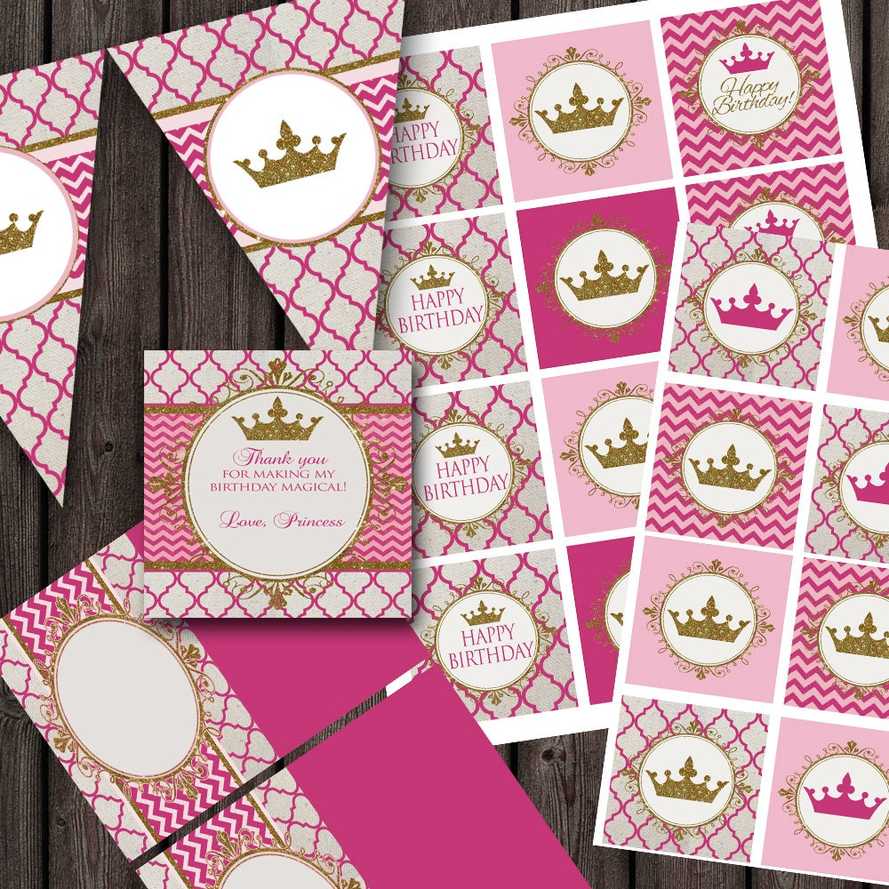 pink gold princess birthday party package printable party   Etsy