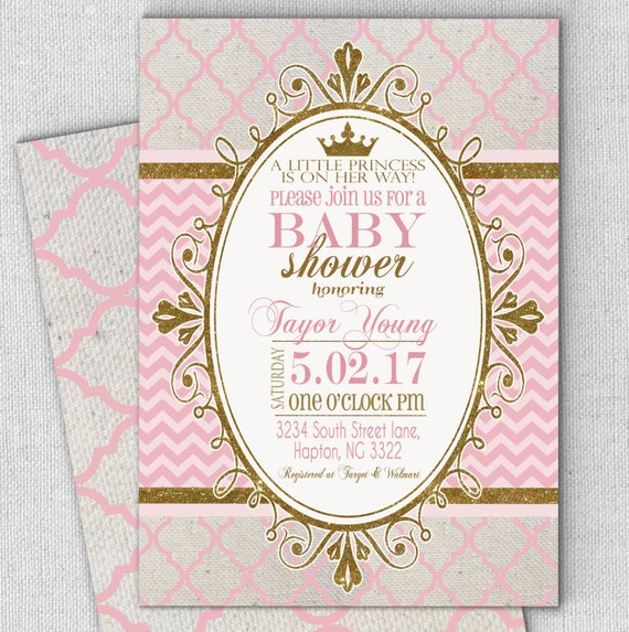 Princess pink gold baby shower invitation fast customized etsy image 0 m4hsunfo