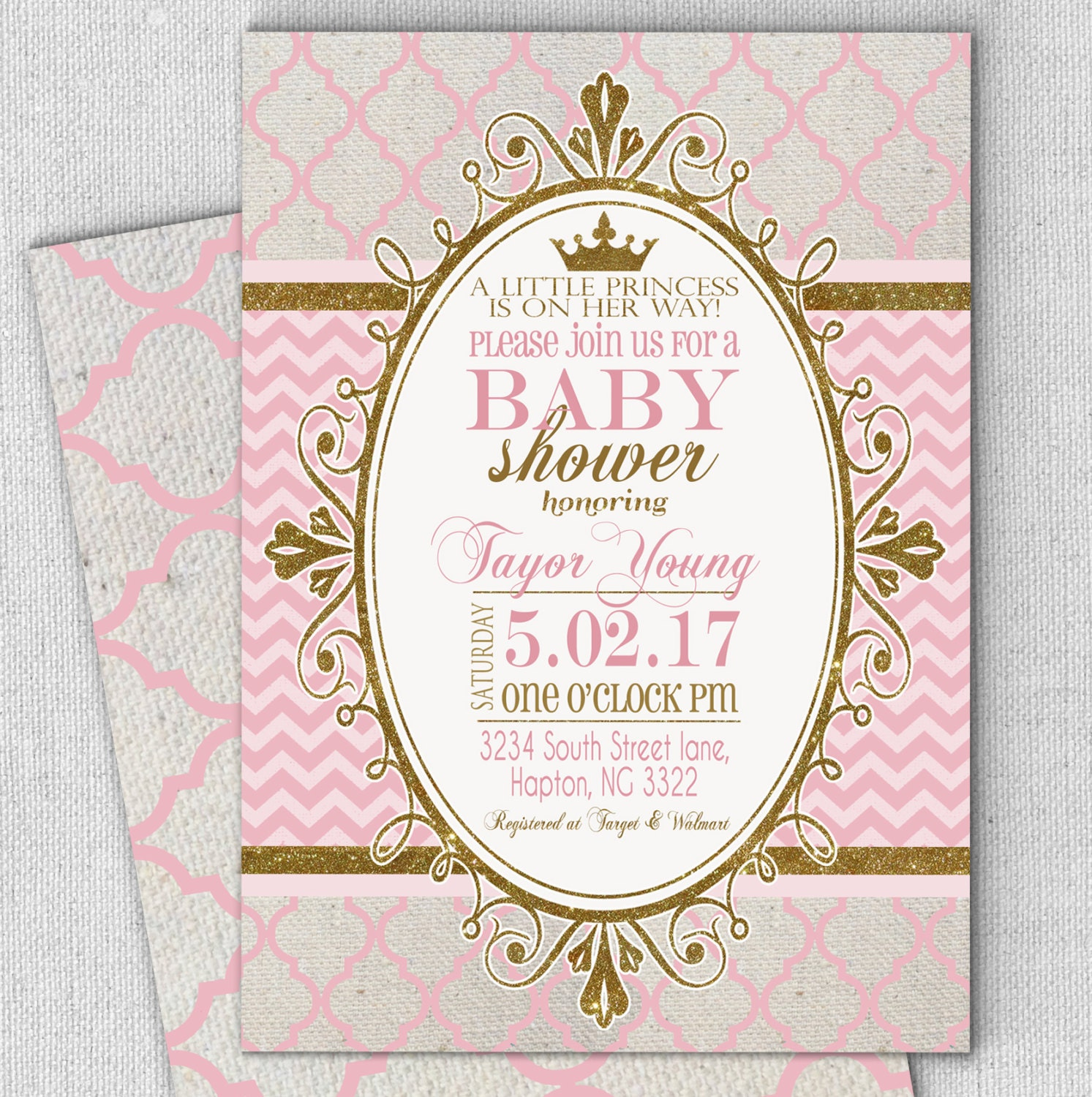 Princess Pink Gold Baby Shower Invitation Fast Customized Etsy