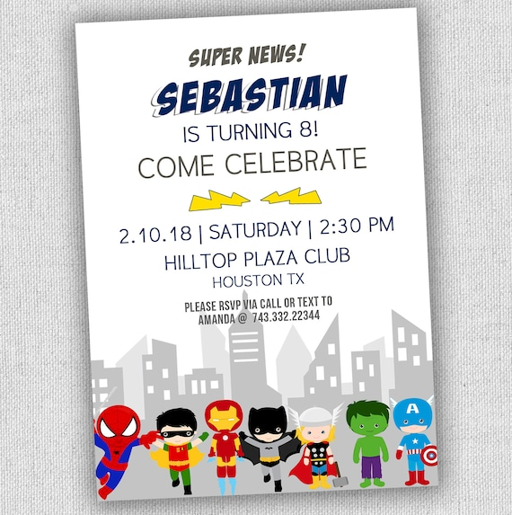 Superhero Birthday Invitation Modern