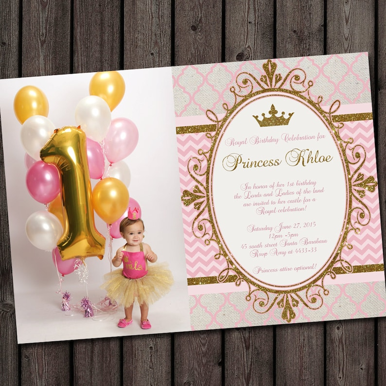 Pink Gold Princess Birthday Invitations OG Invitation Ideas