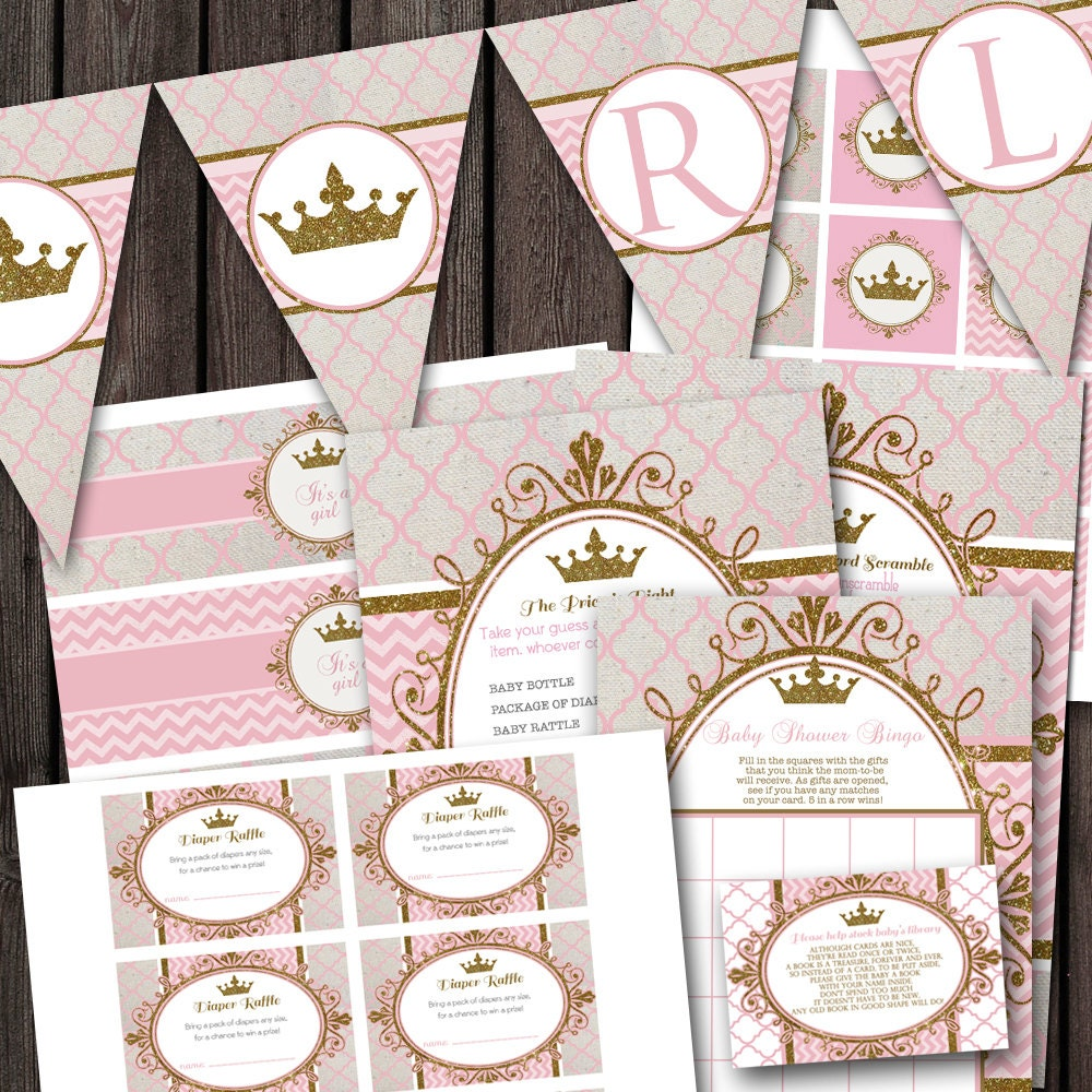 Pink Gold Royal Princess Baby Shower Party Package Banner Etsy