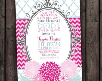 CUSTOMIZED fast, flower baby girl shower invitation, pink and mint, baby shower invitations, chevron flower baby shower, customized wording