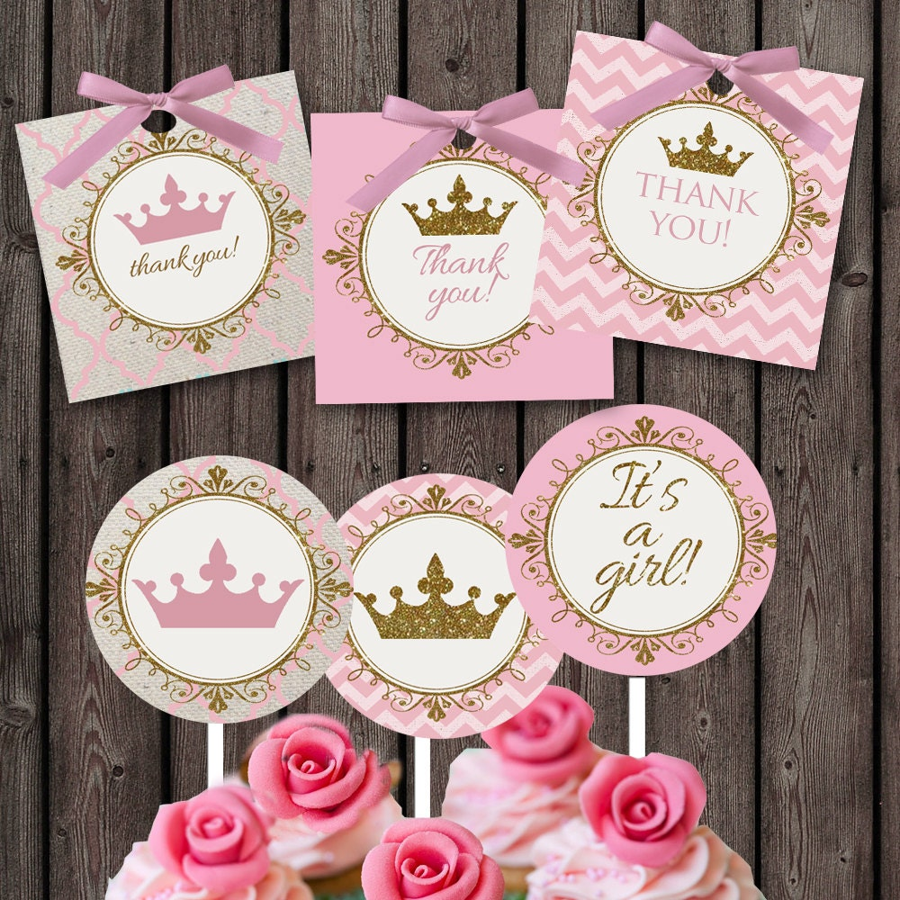 pink gold Baby girl shower cupcake toppers and favor tags | Etsy