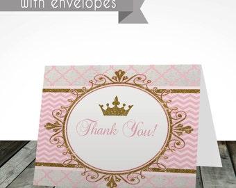 Royal princess printed thank you cards, PRINTED or digital, shipped with envelopes, princess thank you card, gold thank you card favor tags