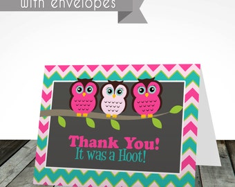 Owl thank you cards, PRINTED or digital, shipped with envelopes, thank you card, birthday card, birthday invitations,